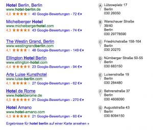 Lokale Suchergebnisse bei Google
